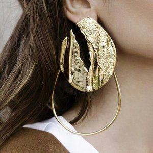 Gold Leaf Statement Earrings